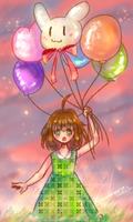 Globos - Crayon Drawing (Digital) by K-armen