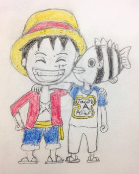 Luffy and Oda hanging out colored by BigJaa