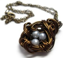 A Nest Adorned Necklace by sojourncuriosities