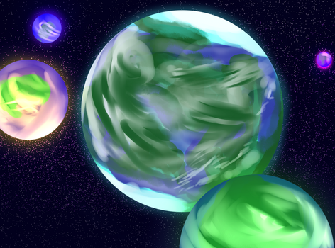 7. Unitas and the four Oalan moons by ZionWorldArtist