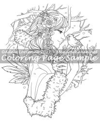 Art of Meadowhaven Coloring Page: Winter Rose by Saimain
