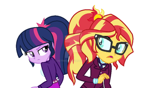 Twilight Sparkle and Sunset Shimmer by Ketrin29