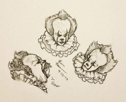 Pennywise sketches! by ButeonineOwl