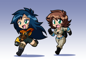 Chibi Ghostbusters Kylie and Lucy by rongs1234