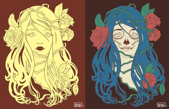 Mexican Roses WIP by not-nene