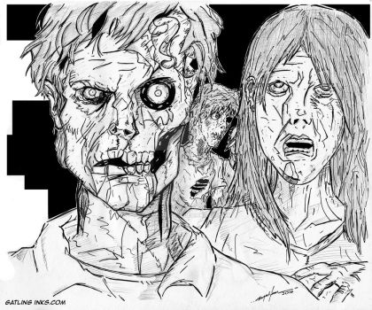 Zombie Horde Pen Sketch by GatlingInks