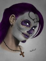 Mexican Skull Girl by FraH
