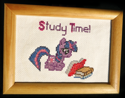 Twilight MLP Cross Stitch Commission- Study Time! by JuliefooDesigns
