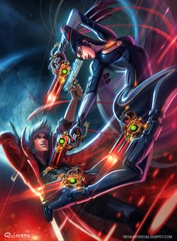 Dante VS Bayonetta by reiq
