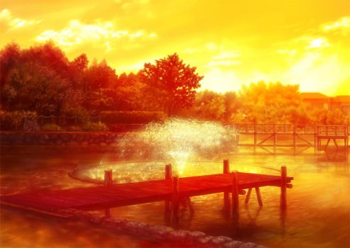 Clannad Sunset Lake Clean by night-wolf23