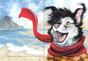ACEO: Beachcombing by MoonsongWolf