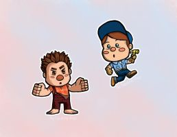 chibi Ralph n Felix by Squishy-Pop