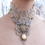 Ivory steampunk collar by Pinkabsinthe