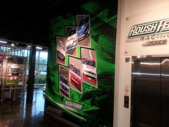 Left side of the Roush Fenway Museum wall by graphicwolf