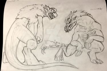 Kaiju fight-WIP by CreativeFiddler