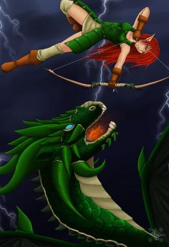 Fighting the dragon by Project-Drow