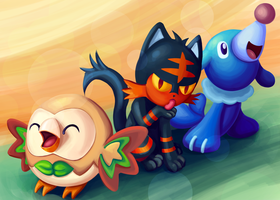 Fan-art Friday 1: Sun and Moon starters by Kitty-Craftsy