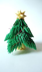 Origami 3D Christmas tree, with Christmas star