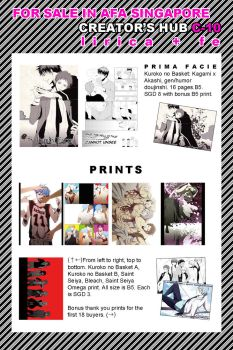 Doujinshi and Print List for AFA Singapore by festivewind