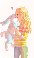 Bunnymund and Teen Sophie by mimera