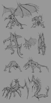 Creature sketches by Banana-Jeff