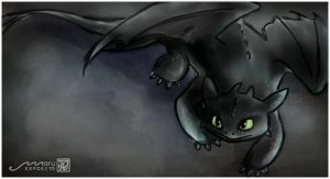 Curious Toothless Sketch by MaruExposito