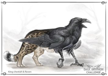 Gryphon Challenge 17 : King cheetah and Raven by Pechschwinge