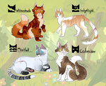 WARRIOR CAT ADOPTABLES! (CLOSED) by Lucieniibi