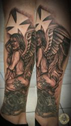 Chicano dollar angel finished by 2Face-Tattoo