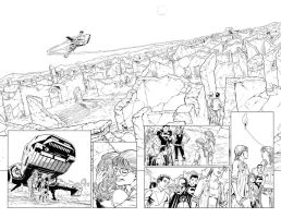 TEEN TITANS 93 Panoramic Double-Page Spread SOLD by DRHazlewood