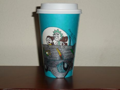 Starbucks Fall Cup: Rick and Morty by FlowerPhantom