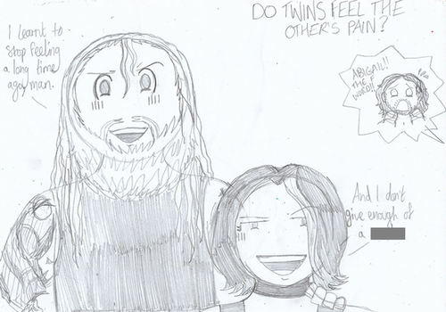 WWE: Do Twins Feel The Other's Pain? (Doodle) by MissAbigailWyatt