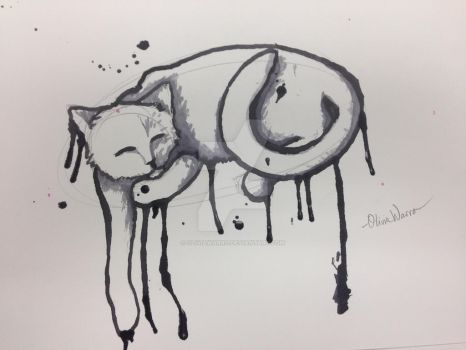 Watercolor Cat by oliviawarro
