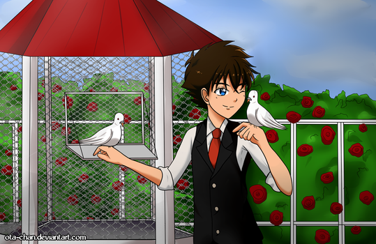 Kaito with his lovely doves by ota-chan