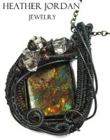 Wire-Wrapped Multi-colored Ammolite Pendant in Ant by HeatherJordanJewelry