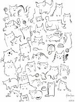Cats doodle by Kitena-chan