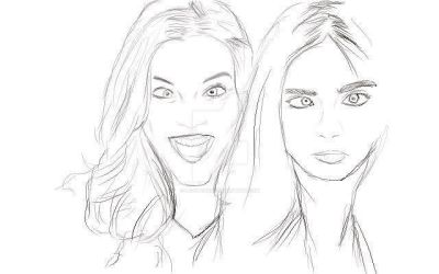 Quick sketch Barbara Palvin and cara delevingne by lazybeaniie
