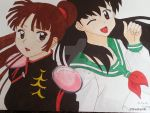 Kagome and Sango from Inuyasha by EveKudo
