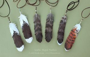 Six Leather Raptor Feathers by windfalcon
