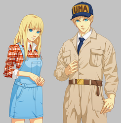 Gray and Claire sprites by PinkFireFly