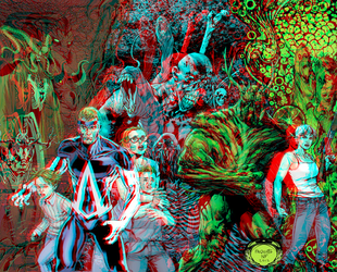Animal Man and Swamp Thing in 3D Anaglyph by xmancyclops