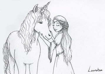 Inktober Day 4 - unicorn and elf lady by Lauralina