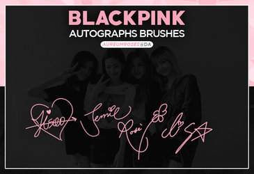 BLACKPINK AUTOGRAPHS BRUSHES (+PNGS) by aureumroses