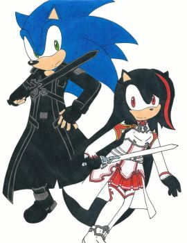 Sonic (Kirito) And Darkness (Asuna) by RedFire199-S