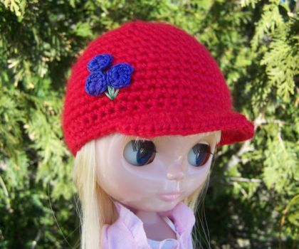 Blythe Hat - Red Blueberries by ChezMichelle
