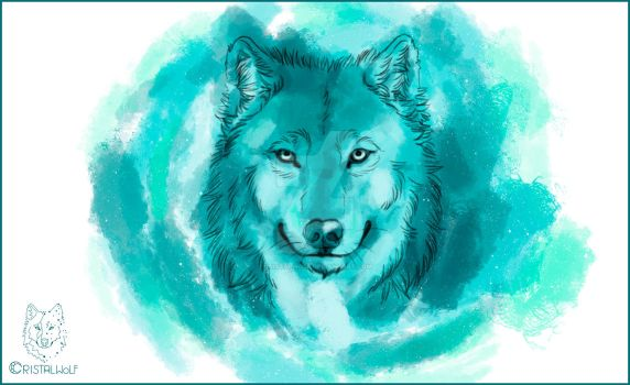 Blue Watercolor Wolf by Cristalwolf