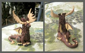 Mr McKinley the Moose Dragon made of Polymer Clay by MiniMythicalMonsters
