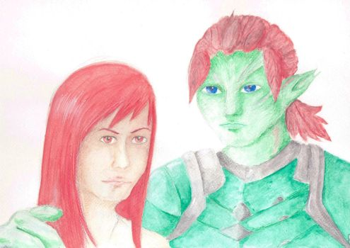 human and sylvari by Debstarr