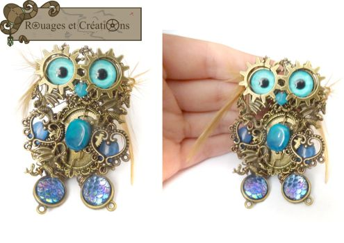 Danyowl the steampunk owl mother of dragons by Rouages-et-Creations