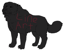 Fluffy dog lineart by Ziddacus